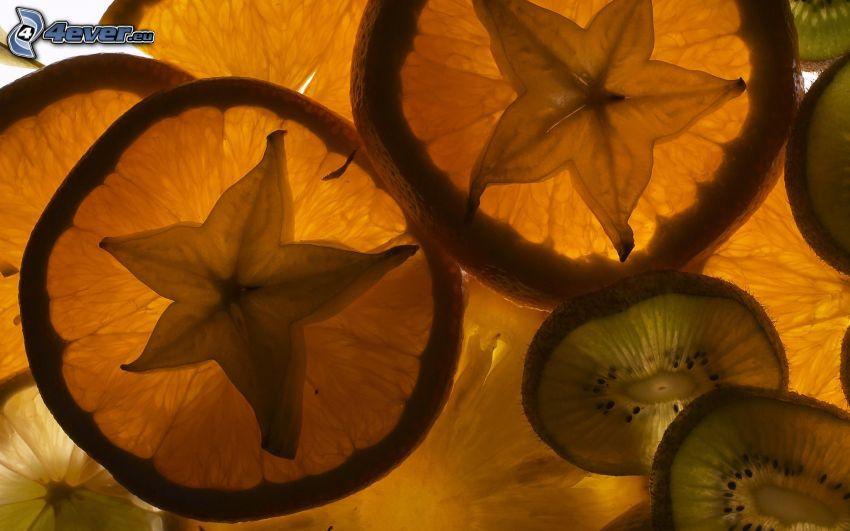 carambolo, kiwi