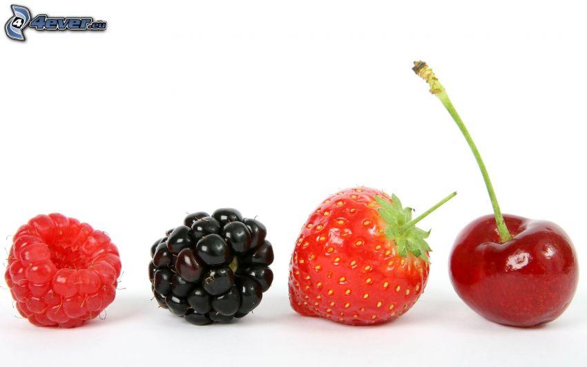 frambuesa, mora, fresa, cereza