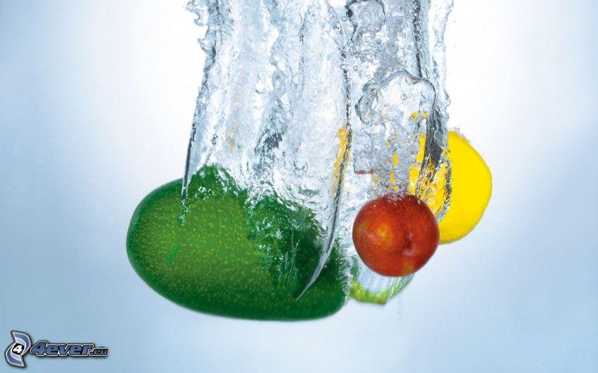 fruta, aguacate, limón