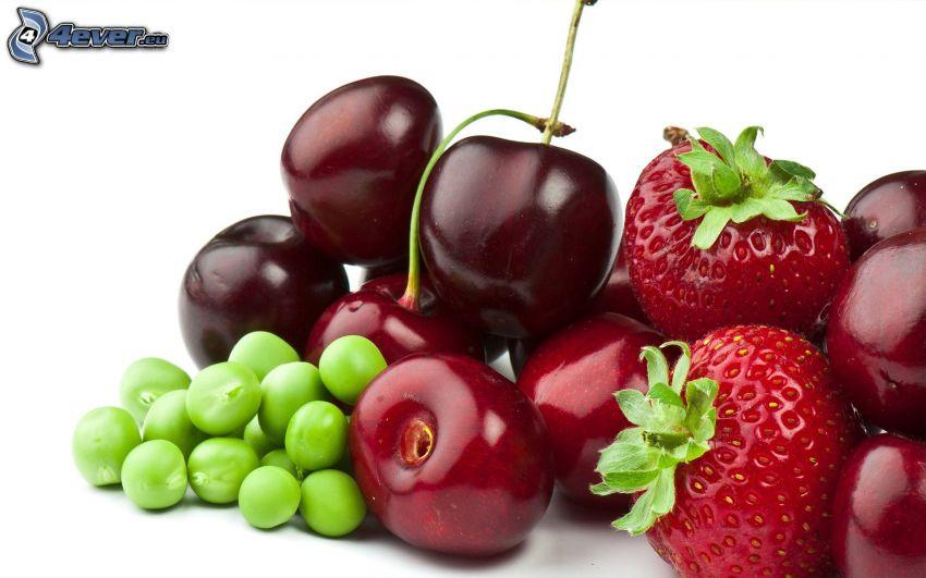 fruta, chícharos, cerezas, fresas