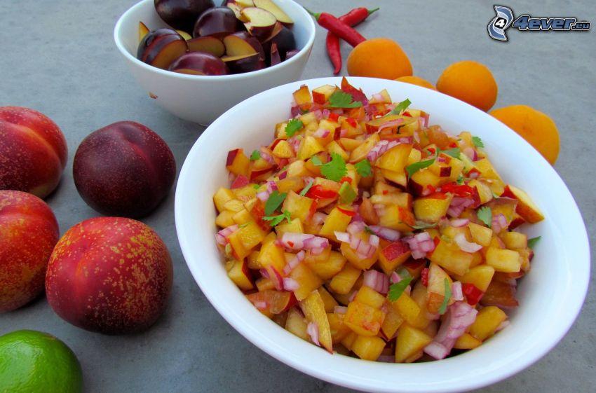 fruta, ciruelas, albaricoques