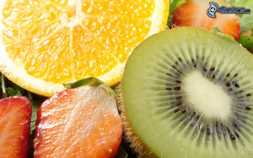 fruta, kiwi, naranja, fresas