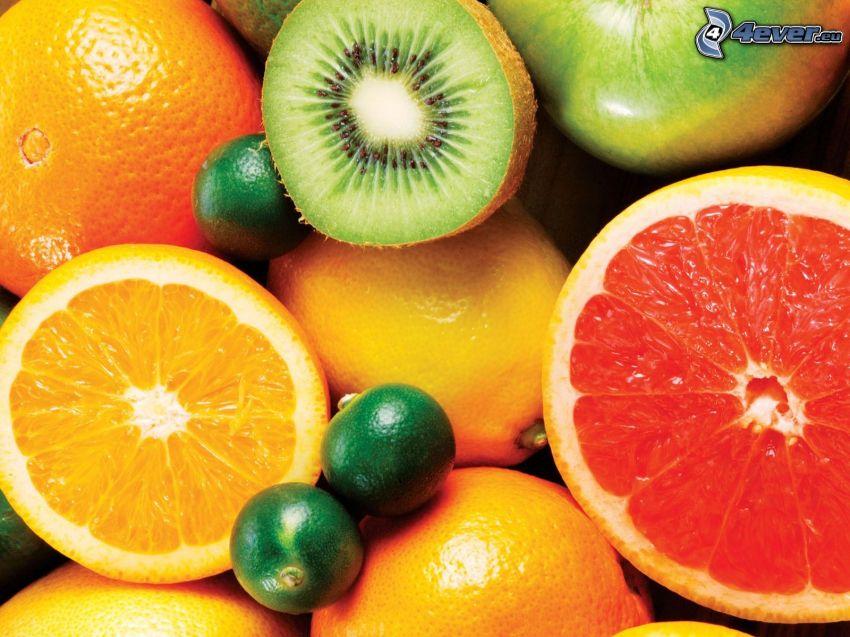 fruta, kiwi, naranja, pomelo, limón