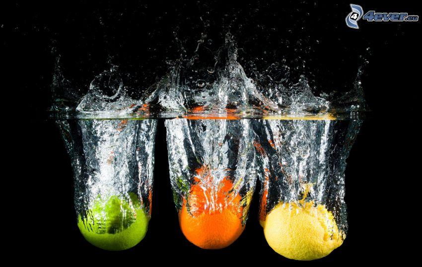 fruta, lima, naranja, limón, splash