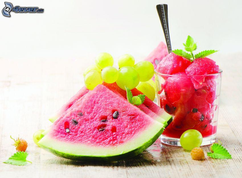 fruta, melón, uvas