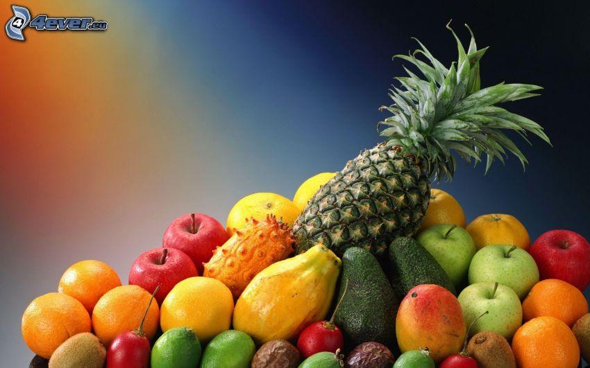 fruta, piña, manzanas, naranjas