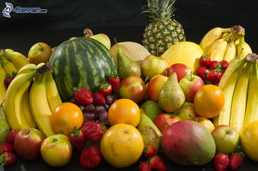 fruta, plátanos, melón, piña, pera, fresas