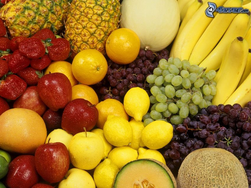 fruta, plátanos, piña, fresas, limón, uvas, manzana