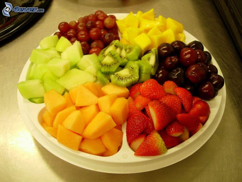fruta, plato, kiwi, fresas, piña, cerezas