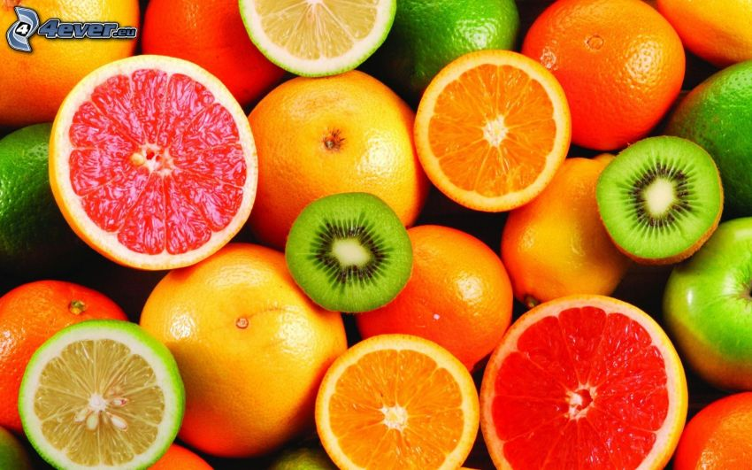 fruta, pomelo, naranjas, kiwi, limones, limero, manzana verde