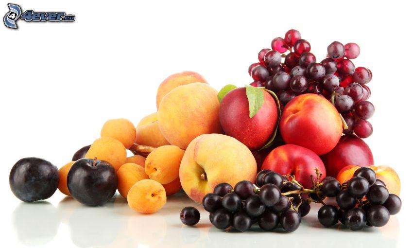 fruta, uvas, nectarinas, melocotones, albaricoques, ciruelas