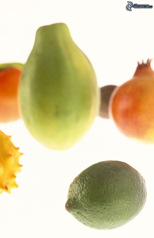 frutas exóticas, granada, lima