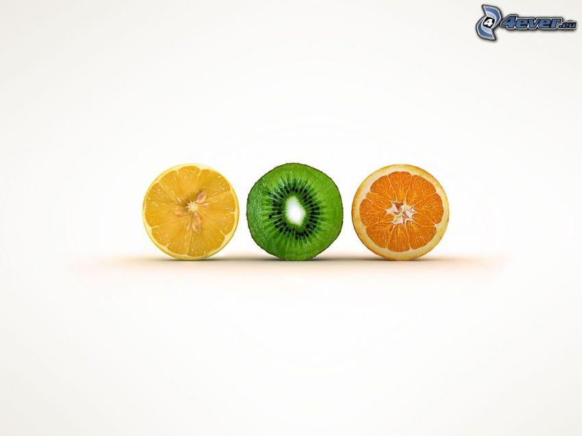 limón, kiwi, naranja