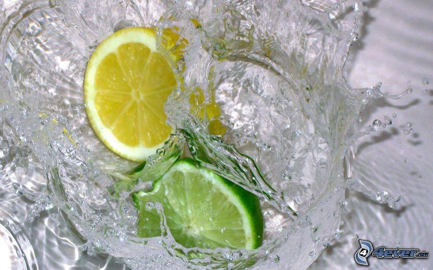 limón y lima, agua, gotas