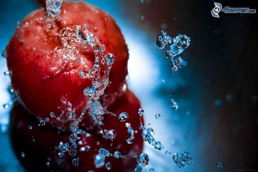 manzana, agua, gotas