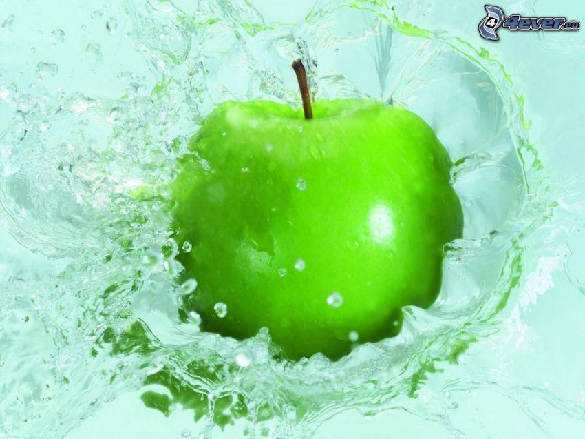 manzana verde, agua, splash