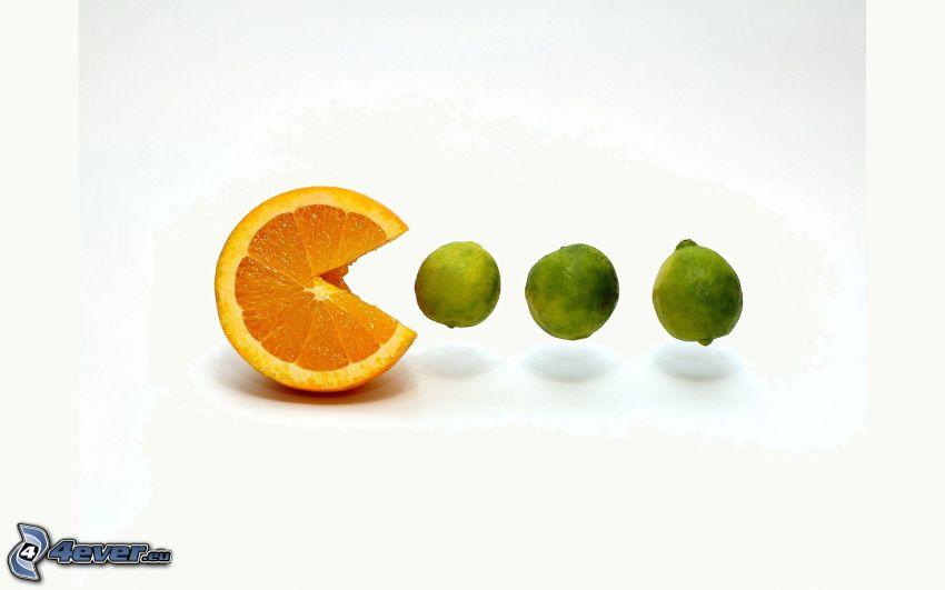 naranja, limero, Pacman