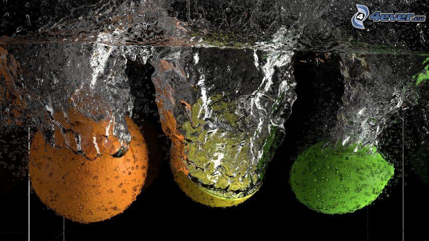 naranja, limón, lima, agua, splash