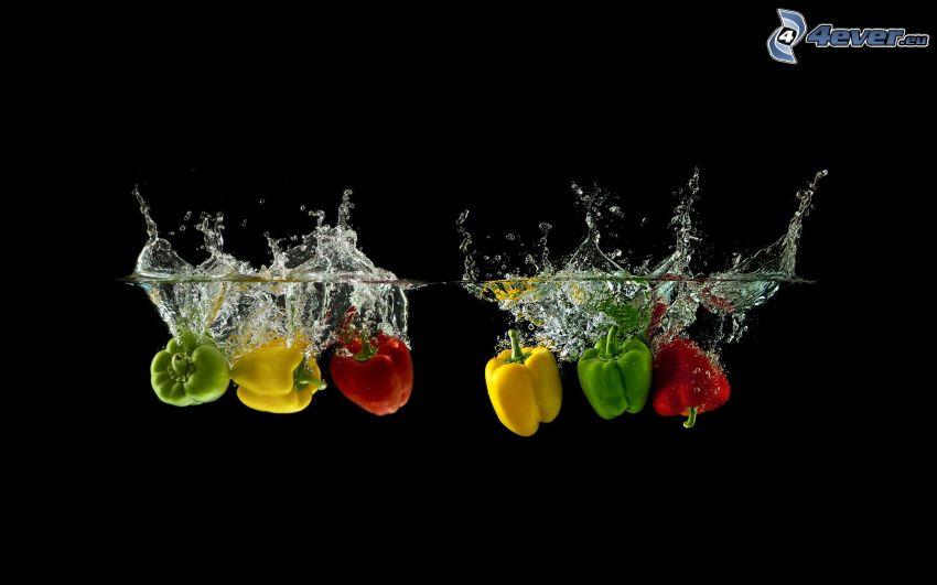 pimientos, agua, splash