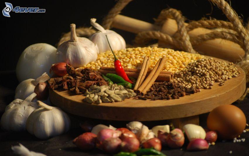 verduras, ajo, maíz, canela, pimienta