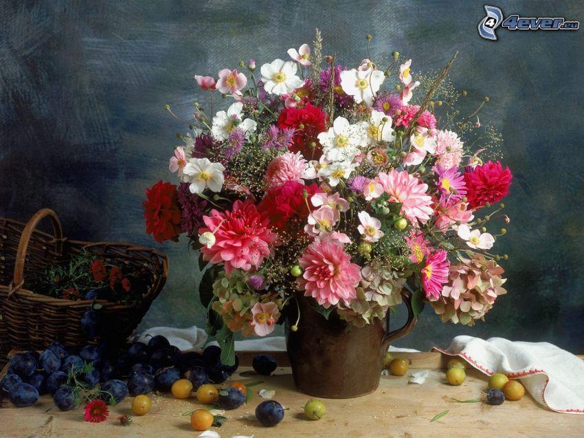 ramo, flores, ciruelas, cesta