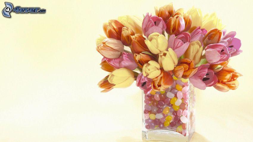 tulipanes, piedras, florero