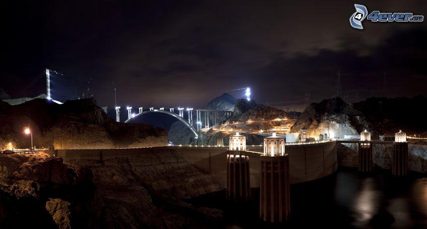 presa Hoover, puente, noche