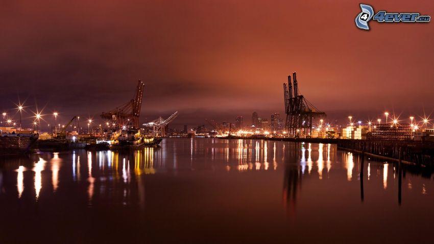 puerto, noche, iluminación