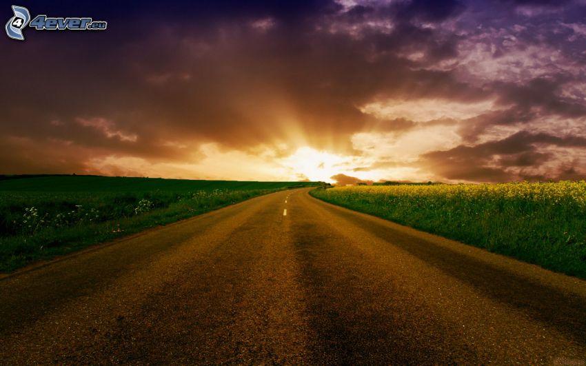 puesta de sol sobre la carretera, campos
