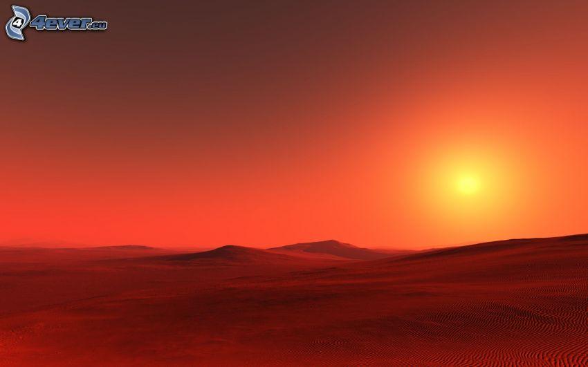 puesta del sol, desierto