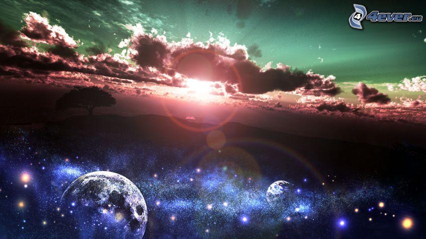 puesta del sol, nubes, cielo, árbol solitario, universo, planetas