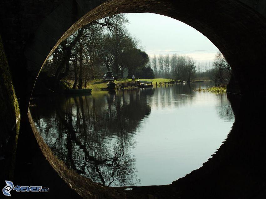 río, orilla, bajo el puente