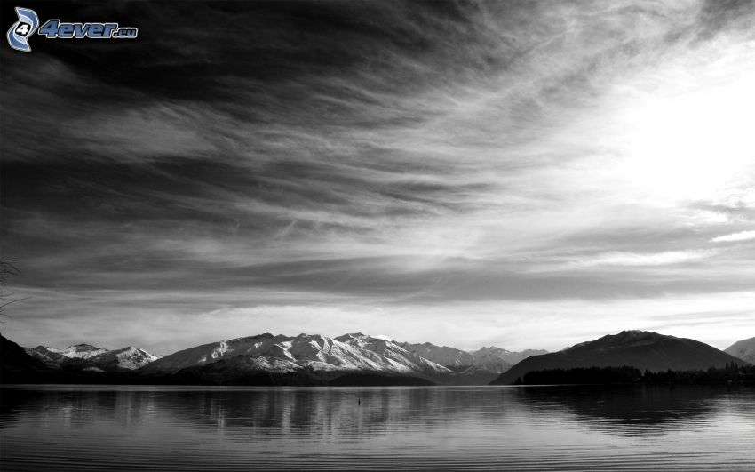 sierra, cielo, lago, Foto en blanco y negro