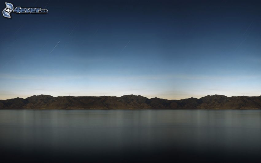 sierra, lago, cielo