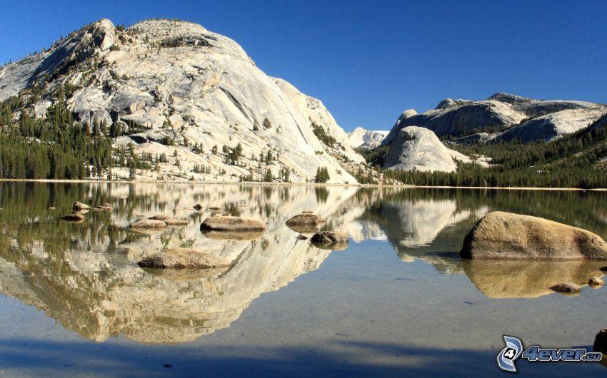 Tenaya, Parque nacional de Yosemite, lago, reflejo, colina