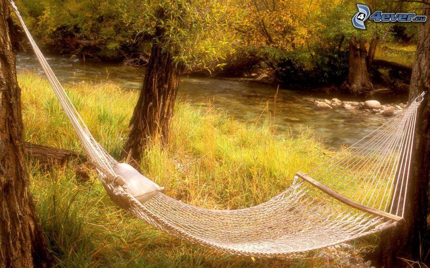 tumbarse en una red, río, árboles