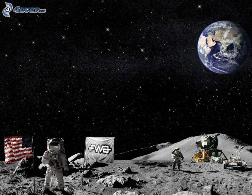 astronautas, bandera americana, Planeta Tierra, cielo estrellado