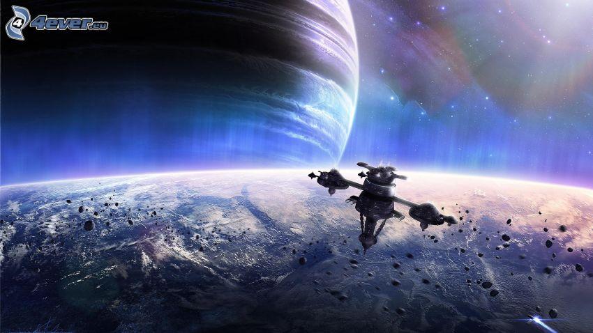 astronave, planetas, asteroides