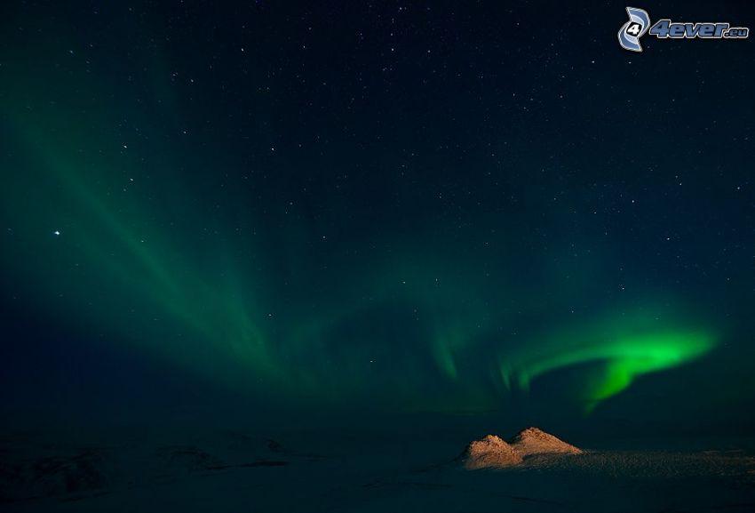 aurora polar, cielo estrellado