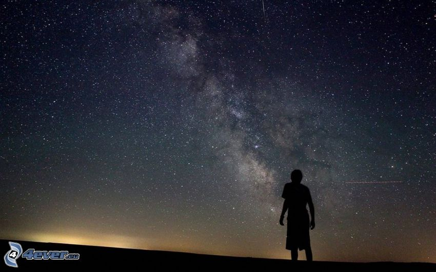 cielo de noche, silueta de un hombre, estrellas