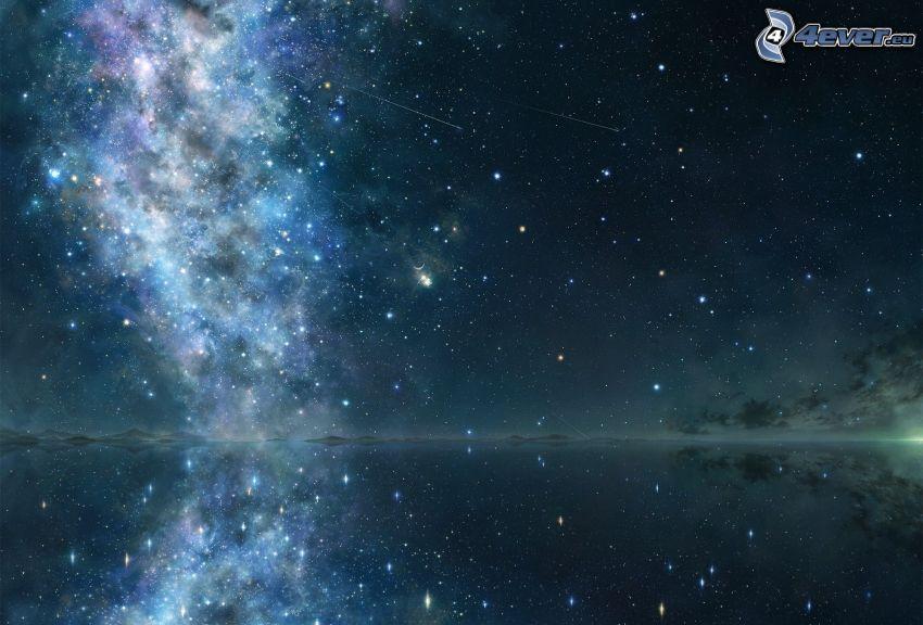 cielo estrellado, cielo de noche, Nebulosa, lago, reflejo, estrellas fugaces
