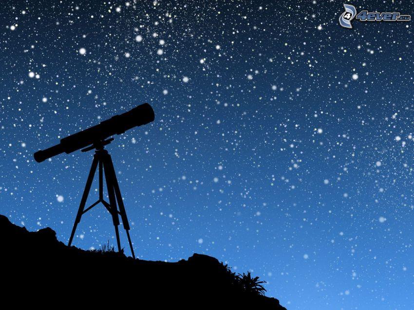 cielo estrellado, cielo de noche, telescopio