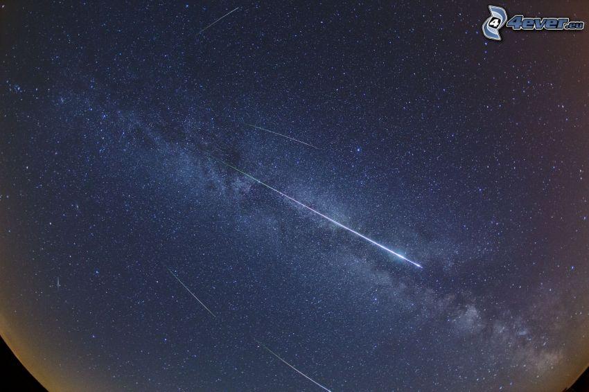 cielo estrellado, meteoritos