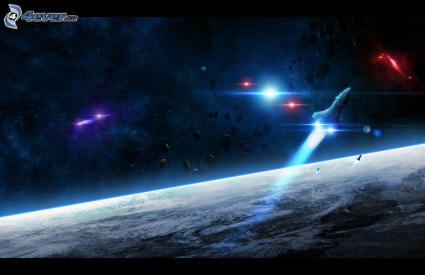 cohete, asteroides