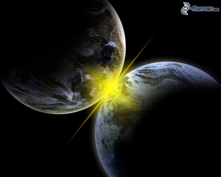 colisión espacial, planetas, luz intensa