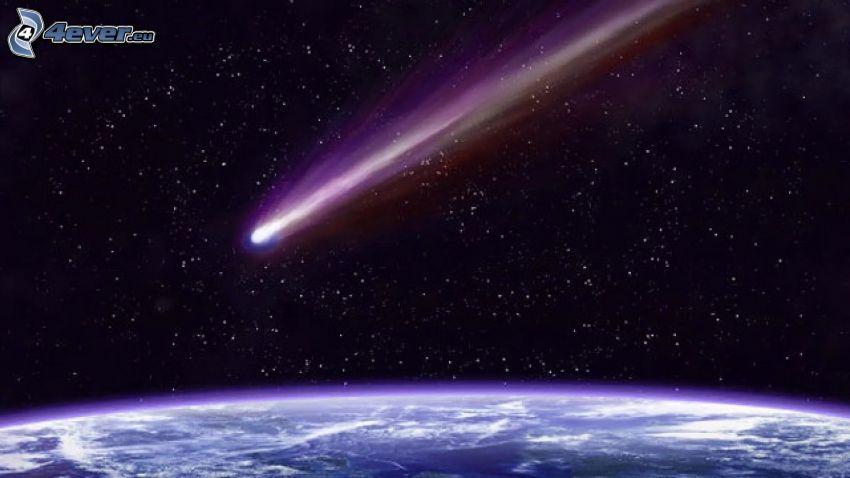 cometa, Tierra desde la ISS, cielo estrellado