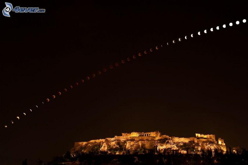 eclipse lunar, acrópolis, Atenas, Grecia