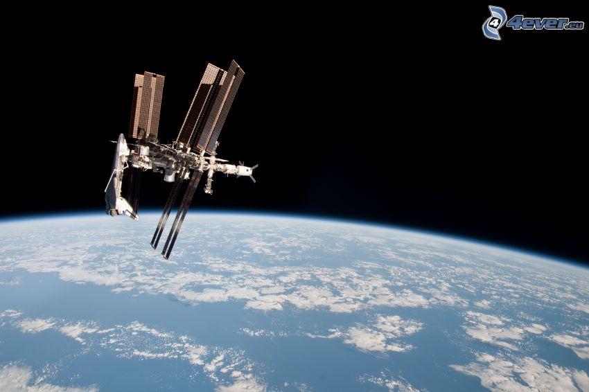 Endeavour unido a la ISS, Estación Espacial Internacional ISS, universo, transbordador espacial, Tierra