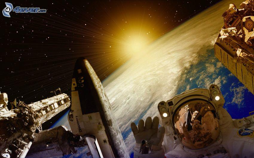 Estación Espacial Internacional ISS, astronauta, transbordador espacial Discovery, sol, Planeta Tierra, arte digital
