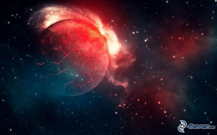 explosión espacial, planeta